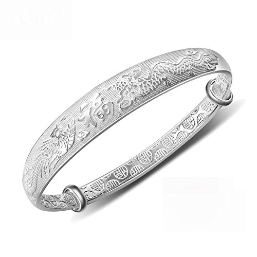 Sterling Silver Dragon Carved Bangle