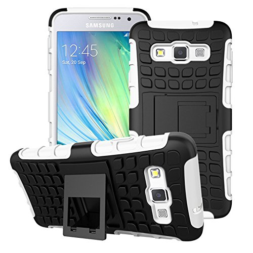 A3 Case, for Samsung Galaxy A3 Case, [Tyre Pattern] Tough Armor Case Double-Deck Layer Protection Hybrid Case [Kickstand] Cover [Sure Grip] Shock Drop Impact Proof Cover (Free Gifts: 1x Stylus+1x Screen Protector)(White)