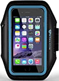 iPhone 6 PLUS Armband : Stalion® Sports Running & Exercise Gym Sportband iPhone 6 PLUS (5.5-Inch)[Lifetime Warranty](Cyan Blue)Water Resistant + Sweat Proof + Key Holder + ID / Credit Card / Money Holder