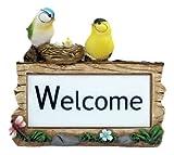 Benross Gardenkraft Solar Welcome Sign with Birds Garden Ornament Light