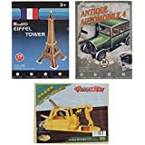 AsianHobbyCrafts 3D Puzzle And Wooden Puzzle Combo Set : 2 3D Puzzles And 1 Wooden Puzzle