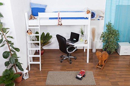 Lit mezzanine Patrick hêtre massif laqué en blanc avec bureau, sommier déroulable inclus - 90x200 cm
