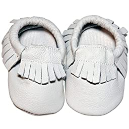 Baby Conda Handmade Ivory / White Baby Moccasins * 100% Genuine Leather * Soft Sole Slip on Baby Shoes for Boys and Girls * 100% Money Back Guarantee Size 12 - 18 Months