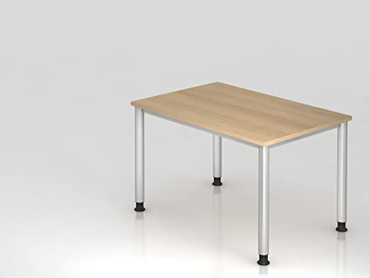 Scrivania 4piedi-rotondo.120x 80cm, rovere/argento