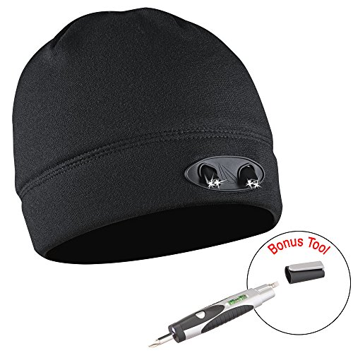 0f172f8a87f540 Ultra Bright 4 LED Hands free unisex Lighted Beanie Powercap - 48 Lumens of Perfect  Hands free Flashlight for Hunting ...
