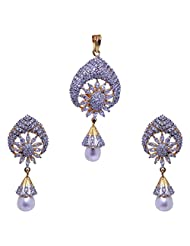Gehna Beautiful Cubic Zircon Stone Studded Pendant & Earrings Set With Pearl Drops