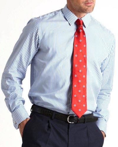 Savile Row Mens Blue White Bengal Strip Slim Fit Formal Shirt Neck Size 15