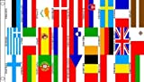 5ft x 3ft (150 x 90 cm) 27 Euro European Nations Countries 100% Polyester Material Flag Banner Ideal For Club School Business Party Decoration Eurovision