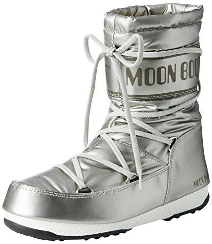 Moon Boot W.E. Soft Mid Met, Stivaletti, Ragazza, Argento (Argento), 39