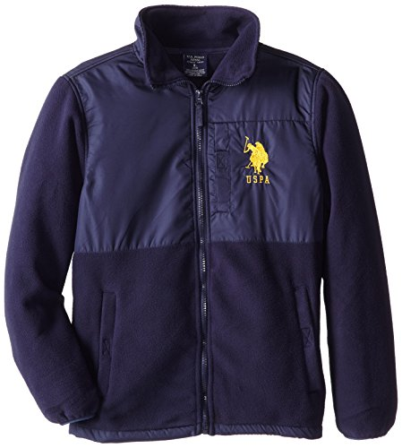 U.S. Polo Association Big Boys' Polar Fleece Jacket With Rip Stop Trim, Navy, 10/12 front-209717