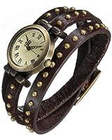 Rétro Bronze Rivet Goujon Bracelet en Cuir Cadran de Quartz Montre-bracelet Café
