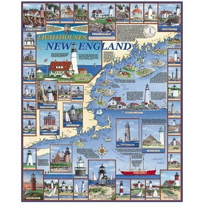 Cheap White Mountain By The Sea Collection Jigsaw Puzzle 1000 Pieces 24″x30″-Lighthouses Of New England (B002Y6GWY6)