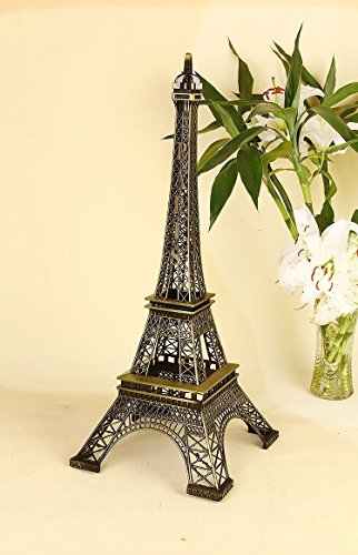 Eiffel Tower Paris France Metal Stand Statue Model for Home Decor or Wedding Theme (10 Inches)
