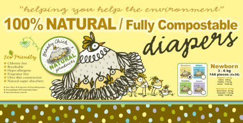 Broody Chick 100% Natural Fully Compostable Diapers Jumbo Box (Newborn 6.6 - 13.2 lbs. (144-Count)) - 1