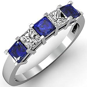 14K White Gold Princess Blue Sapphire & White Diamond 5 Stone Bridal Wedding Band Ring 1 CT (Size 5)