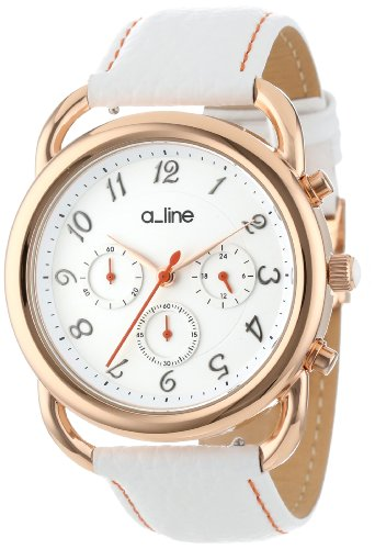 a_line Women's AL-80012-RG-02-WH-SSET Maya Chronograph Silver Dial White Leather Watch