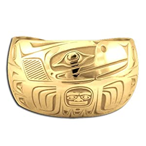 14K Yellow Gold Northwest Coast Native American Wide Raven Bracelet. Made in USA.