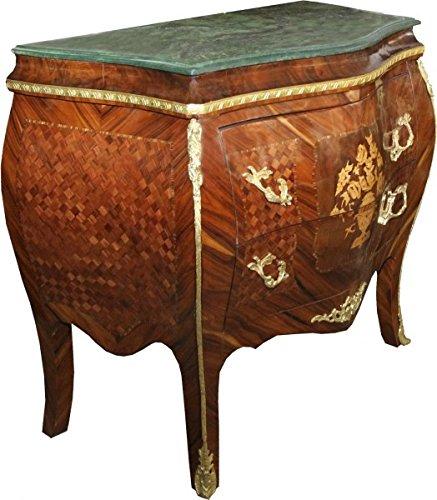 Casa Padrino Barock Kommode Braun mit Marmorplatte Mahagoni Intarsien mit 2 Schubladen B 107 cm - Barock Möbel Kommode