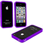 myLife Bright Violet Purple Slim Bumper (Metal Buttons - 360 Degree Side Protector) Gel Flex Case for the iPhone 4/4S (4G) 4th Generation Touch Phone (Soft Silicone Bumper Frame + Rubberized All Around Shock Absorbing Armor Skin)