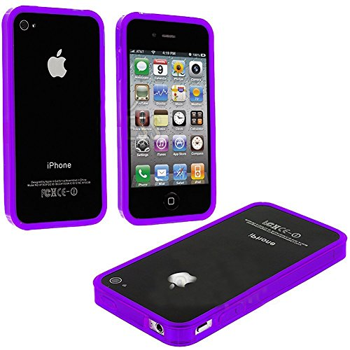 Mylife Bright Violet Purple Slim Bumper (Metal Buttons - 360 Degree Side Protector) Gel Flex Case For The Iphone 4/4S (4G) 4Th Generation Touch Phone (Soft Silicone Bumper Frame + Rubberized All Around Shock Absorbing Armor Skin) front-352860
