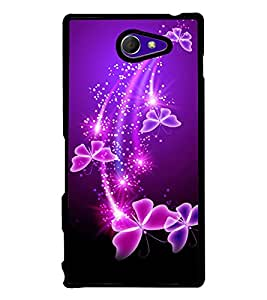 printtech Butterfly Starry Sparkling Back Case Cover for Sony Xperia M2 Dual D2302 , Sony Xperia M2