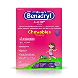 Children's Benadryl Allergy Chewables with Diphenhydramine HCl Antihistamine, Grape Flavor, 20 ct