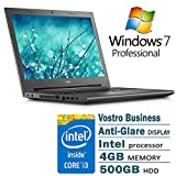 Dell Vostro Flagship 15.6 Anti-Glare Business Laptop Black Edition Intel I3 4G 500G 802.11AC DVD Windows 7 Professional