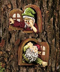 Ltd set of 2 window gnome tree decor add whimsical charm for Amazon uk fairy doors