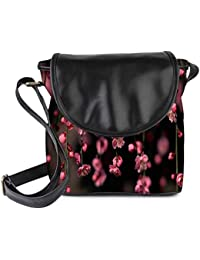 Snoogg Pink Simple Flowers Womens Sling Bag Small Size Tote Bag