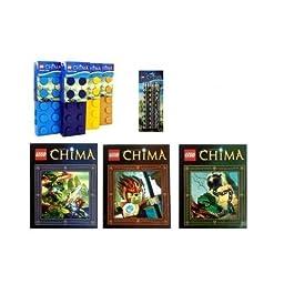 Lego Chima Pencil Case Lego Pencils and Lego Chima Folders 4 Piece Set