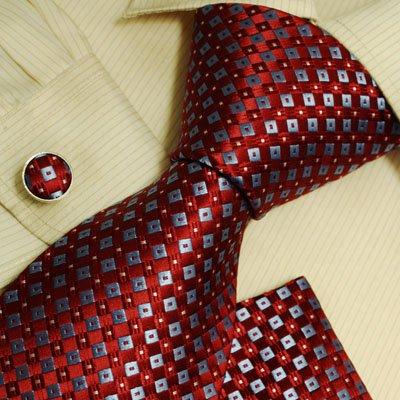 Red checkers designer mens ties personalized gift mens style silk necktie cufflinks hanky set H6007