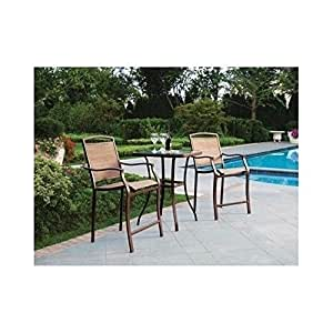 Amazon 3 Piece Bar Height Bistro Table Chair Set