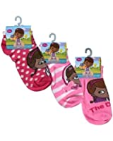 Disney Doc McStuffins Ankle Socks Girls Size 6-8 - 3 Pack (Assorted Styles)