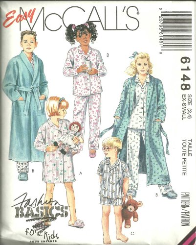 Children'S, Boys Or Girls Robe, Tie Belt, Nightshirt And Pajamas Size: 2-4 Ex-Small. Mccall'S Sewing Pattern 6148 front-884527