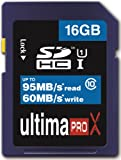 Memzi 16GB Class 10 Ultima Pro X 95MB/s Read - 60MB/s Write SDHC Memory Card for Canon Powershot Series Digital Cameras