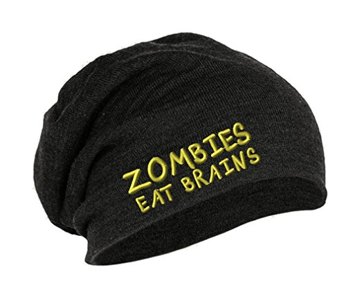 Zombies Eat Brains Embroidery Embroidered Slouch Long Beanie Skully Hat Cap Dark Gray