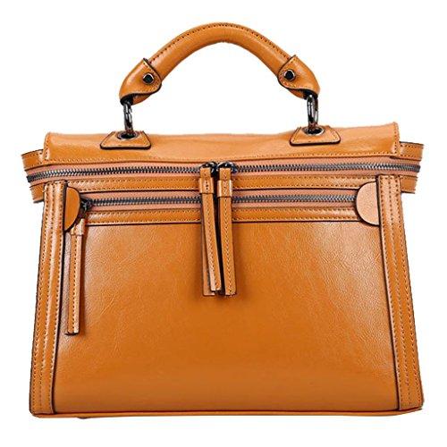 Vlokup Women's Vintage Genuine Leather Top Handle Bag Messenger Purse V5002