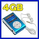 Swees Mini 4GB Clip Mp3 player mit FM radio LCD-Display Blau