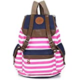 Marrywindix Unisex Canvas Backpack School Bag Vintage Stripe College Laptop Bags Rucksack for Teens Girls Boys Students Outdoor Travel Pink