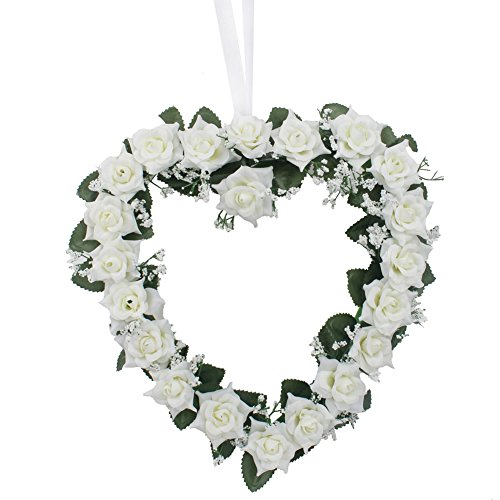 AerWo Heart Shaped Rose Wreath Hanging Door/Wall Wreaths Flowers Garland with Silk Ribbon for Home Wedding Car Decoration (Ivory)