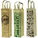 Virtual Concepts Natural Jute Wine Bag, Set Of 3, Natural