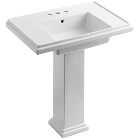 KOHLER K-2845-4-0 Tresham 30-inch Pedestal Bathroom Sink with 4-inch Centerset Faucet Drilling, White