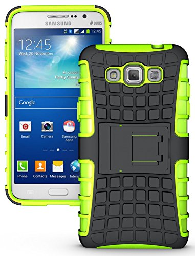 NAKEDCELLPHONE'S NEON LIME GREEN GRENADE GRIP RUGGED TPU SKIN HARD CASE COVER STAND FOR SAMSUNG GALAXY GRAND MAX PHONE (SM-G7200