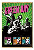 Green Day Uno Dos Tre Poster Magnetic Notice Board Beech Framed - 96.5 x 66 cms (Approx 38 x 26 inches)