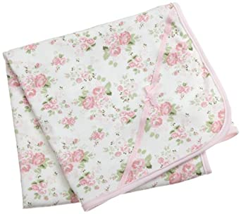 Little Me Cabbage Rose Tag along Blanket, White Floral, One Size