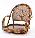 ラタン回転座椅子 ロータイプ (ブラウン)