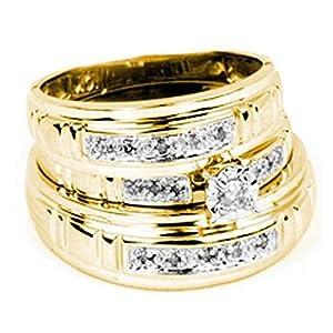 0.17 Carat (ctw) 10K Yellow Gold Round White Diamond Men & Women's Trio Bridal Sets (Size 10)