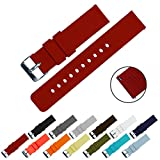 BARTON Quick Release - Choice of Colors & Widths (18mm, 20mm or 22mm) - Crimson Red 22mm Watch Band Strap