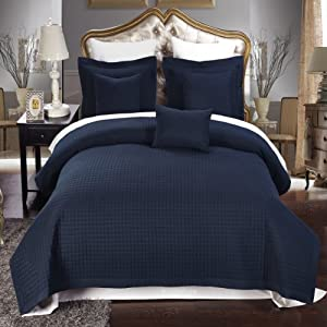 Amazon Com Twin Twin Extra Long Size Navy Coverlet 2pc