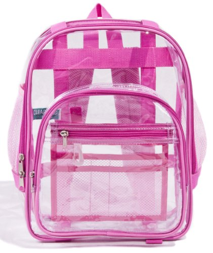Heavy Duty Small Clear Toddler Backpack Pink